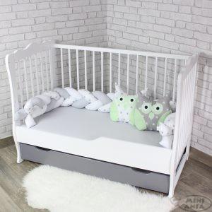 Łóżeczko białe z zdejmowanym bokiem 120x60 cm